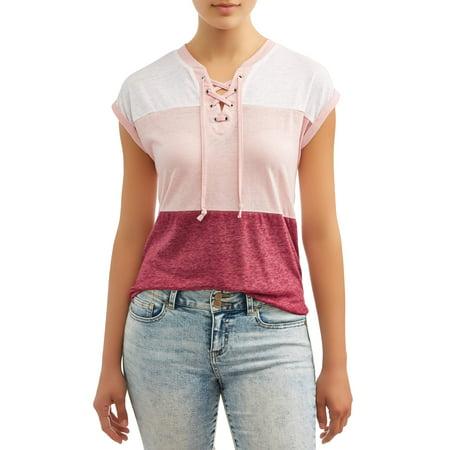 Juniors Tie - No Boundaries Juniors' Colorblock Burnwash Tie Front Short Sleeve T-Shirt