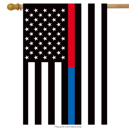 Thin Blue & Red Line House Flag Police Firefighter 28