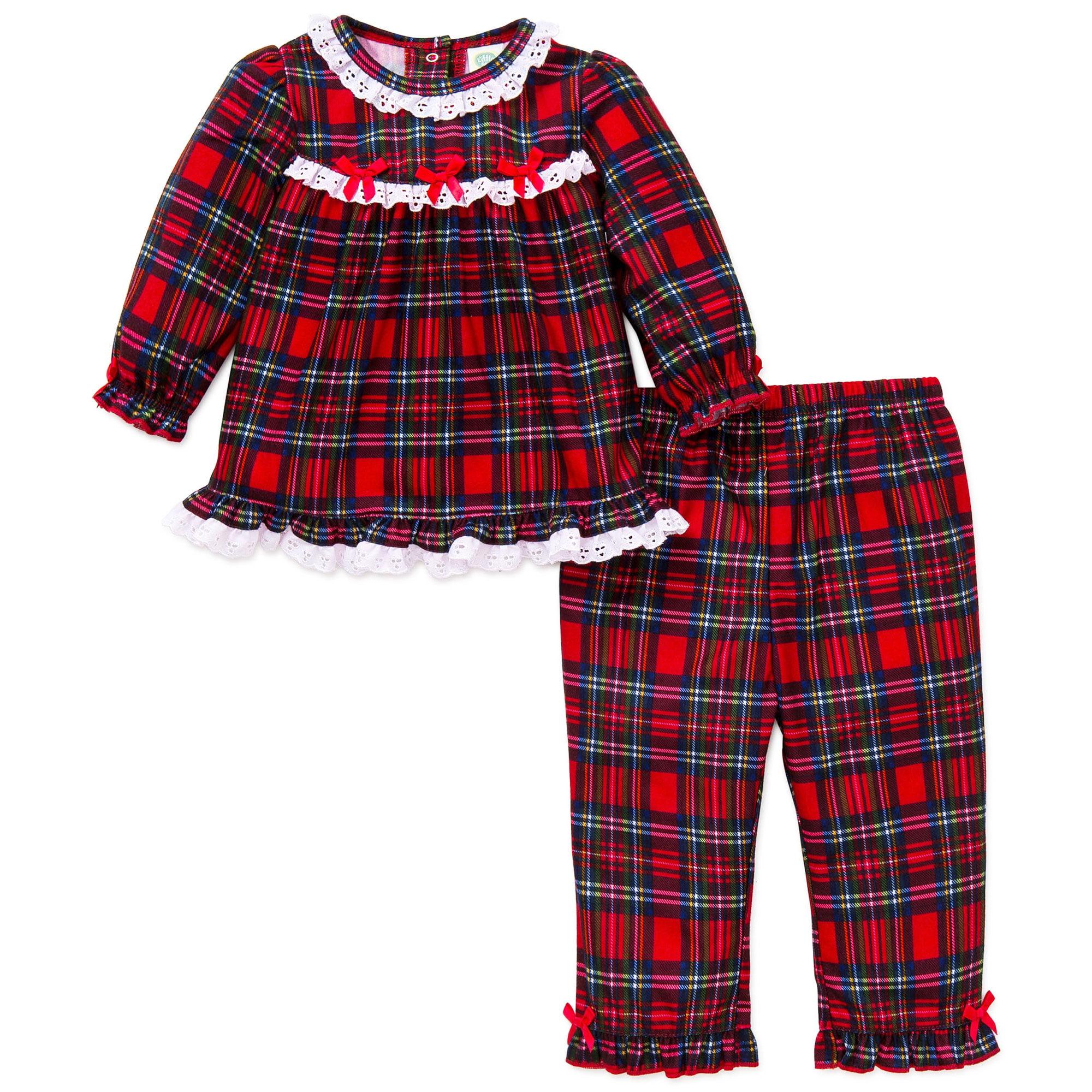 Little Me Girls 2pc Plaid Christmas Pajamas - Red Flannel - 18 ...