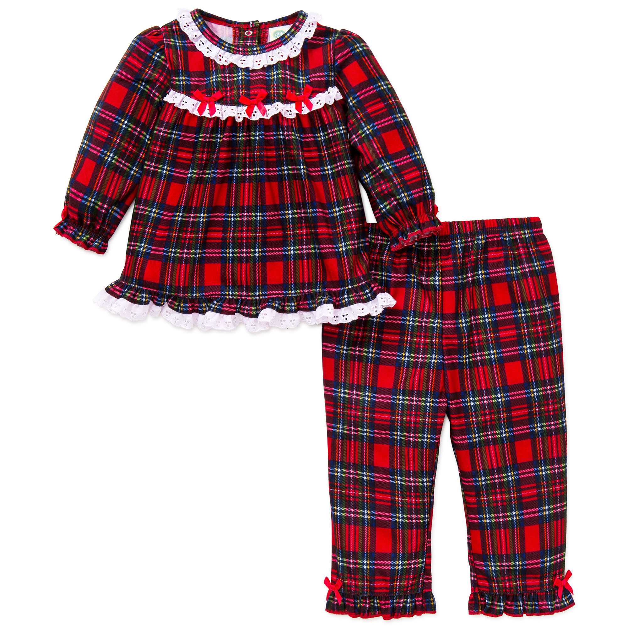 Little Me Girls 2pc Plaid Christmas Pajamas - Red Flannel - 18 ...