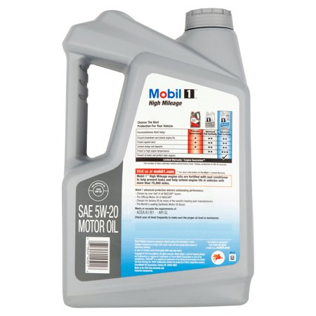 Mobil 1 5w 20 high mileage advanced full synthetic motor for Best high mileage synthetic motor oil