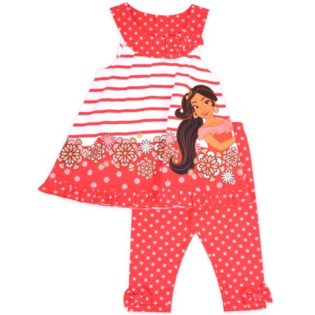 Little Girls' 4-6X Stripe Floral Swing Top and Capri Legging 2-Piece Outfit Set (Tv Character Outfits)