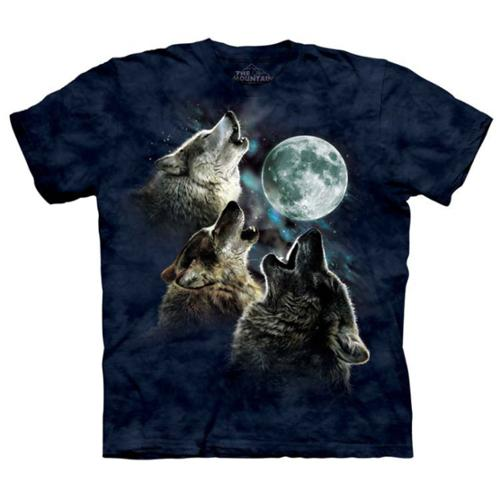 The Mountain Blue 100% Cotton Three Wolf Moon In Blue T-Shirt (Size Medium) NEW