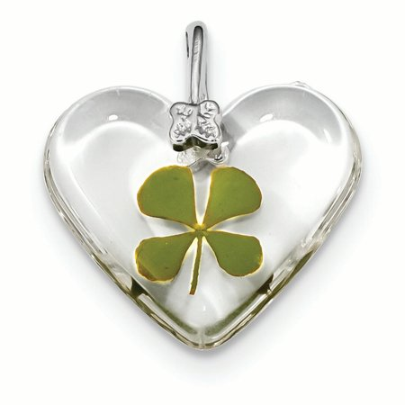 Sterling Silver Real Leaf Clover Epoxy Heart Charm Pendant
