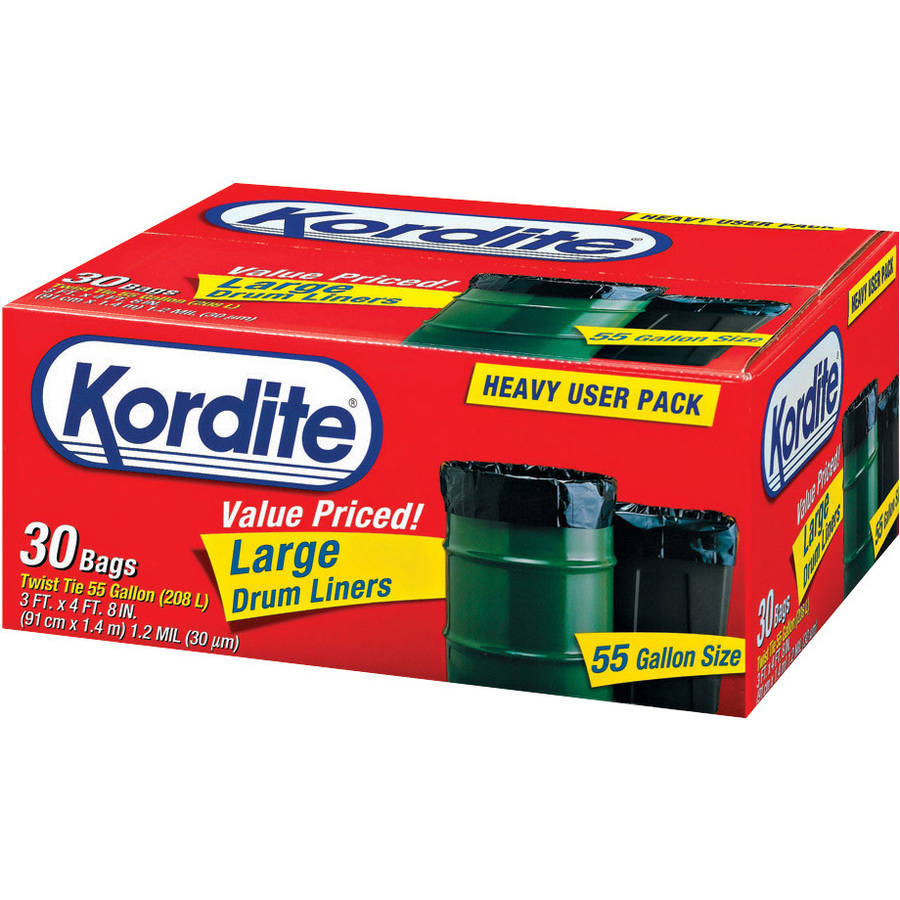 Kordite 55 Gallon Twist Tie Large Drum Liners, 30 count