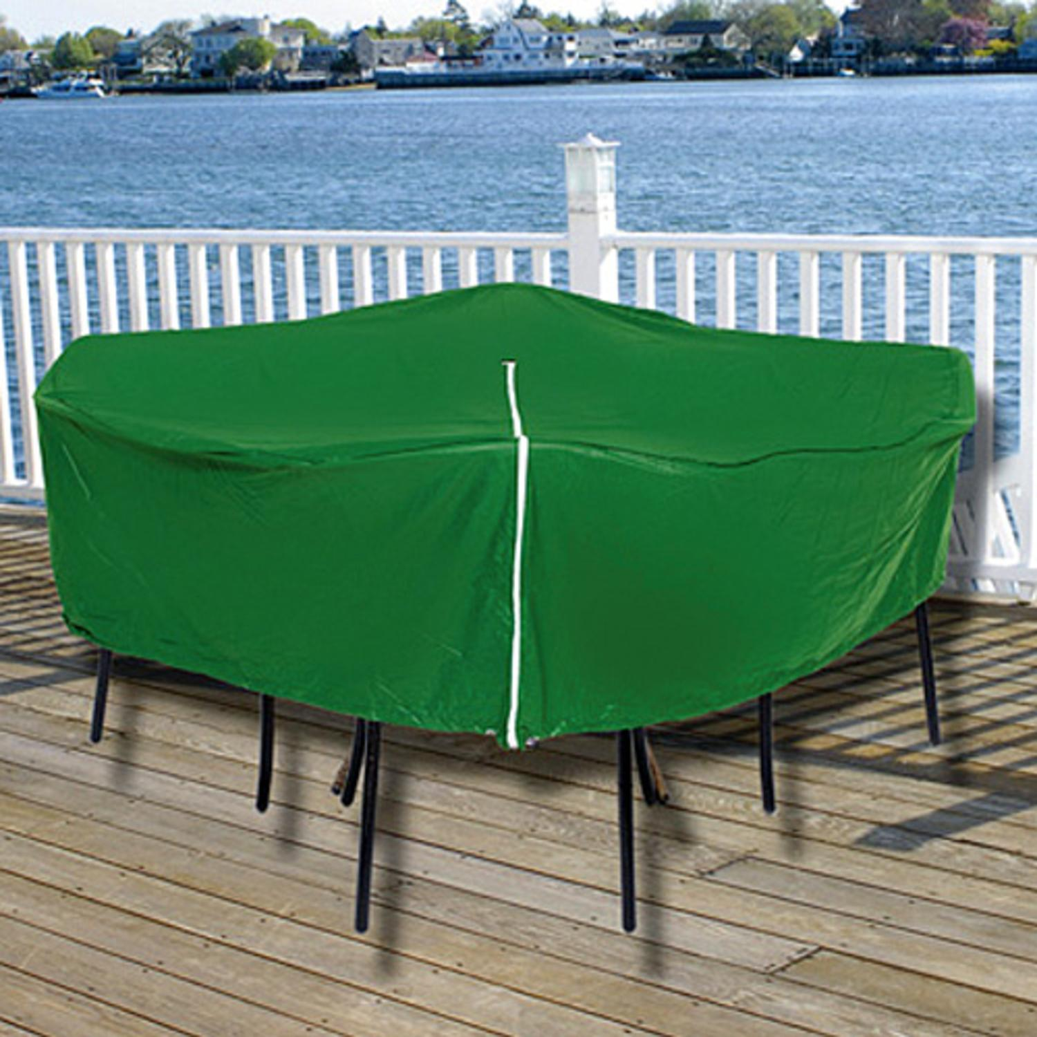 Durable Round Outdoor Patio Set Vinyl Furniture Cover - Green