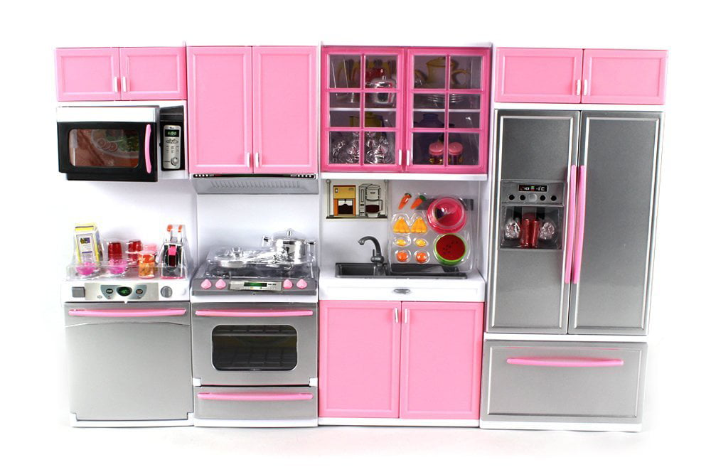 \'Deluxe Modern Kitchen\' Battery Operated Toy Kitchen Playset, Perfect for  Use with 11.5\