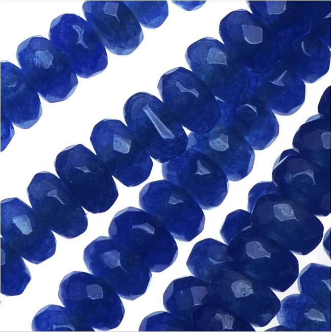 Dyed Jade Gemstone Beads, Faceted Rondelles 2x4mm, 15 Inch Strand, Deep Blue