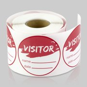 Round Visitor Stickers (2 inch, 300 Labels per Roll, 2 Rolls, Red) for School, Office, College, Tours or Security