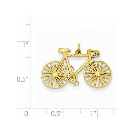 14k Yellow Gold Polished Bicycle (26x18.5mm) Pendant / Charm - image 2 of 2