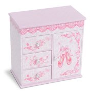 Jewelkeeper Ballerina Musical Jewelry Box with 3 Pullout Drawers, Ballet Slipper Design, Swan Lake Tune