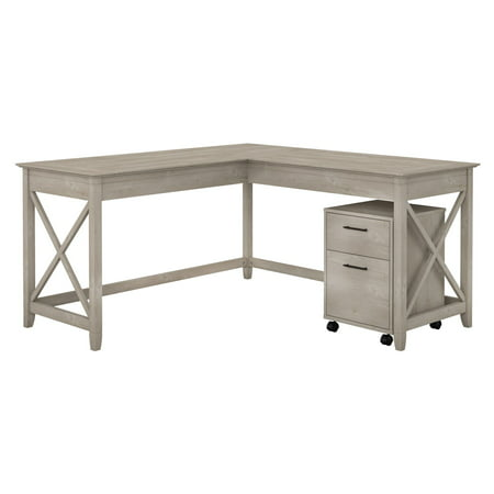 Bush Furniture Key West 60W L Shaped Desk with Mobile File Cabinet in Washed Gray ()