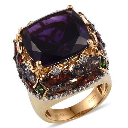 Gold Multi Color Gems (Women's Amethyst Multi Gemstone Yellow Gold Over Silver Ring Gift 15.5 Cttw -ST)