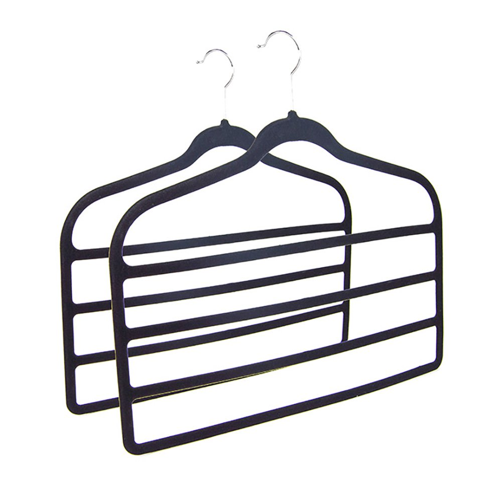 Home Ease 4-Tier Pants and Skirts Velvet Hanger, Black (2 Pack) | 2PKPH2000