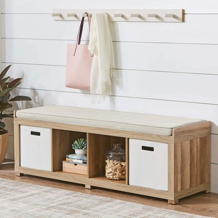 Better Homes and Gardens 4-Cube Organizer Storage Bench, Multiple Finishes (Clear Maple Bench)