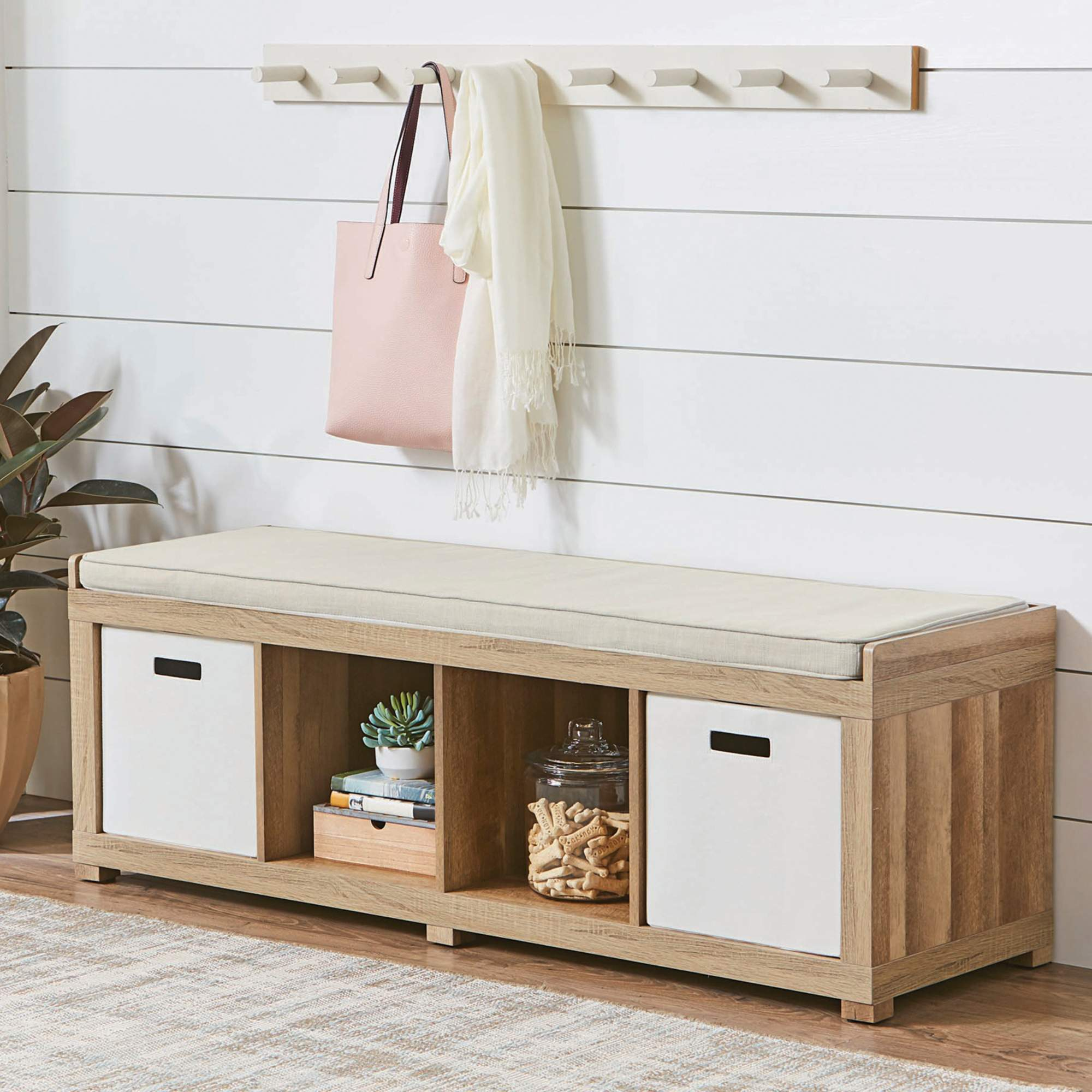 Better Homes and Gardens 4-Cube Organizer Bench, Weathered