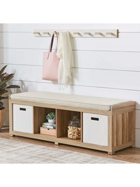 Better Homes and Gardens 4-Cube Organizer Bench, Multiple Finishes