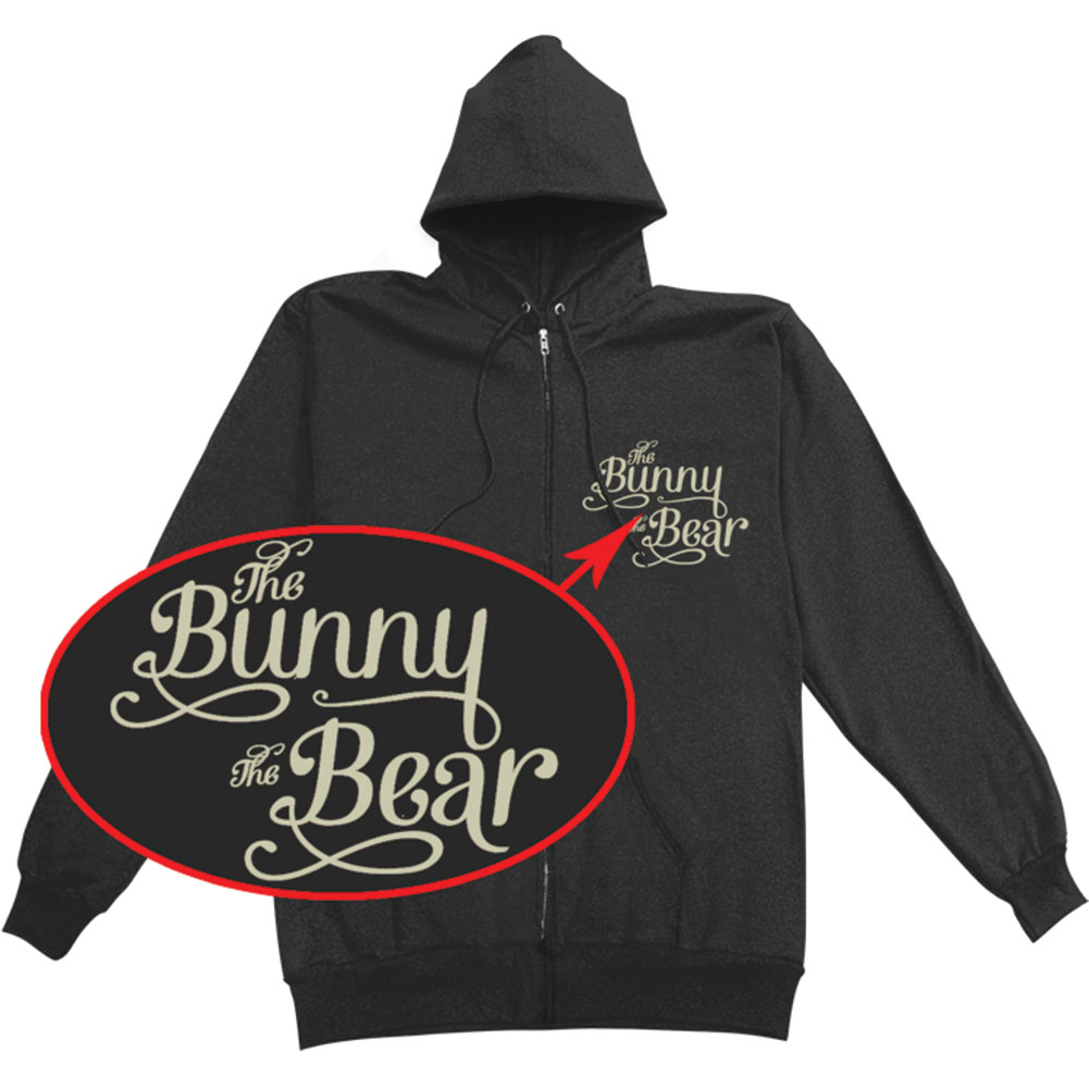 Bunny The Bear Men's  Stories Blue Ink Zippered Hooded Sweatshirt Black