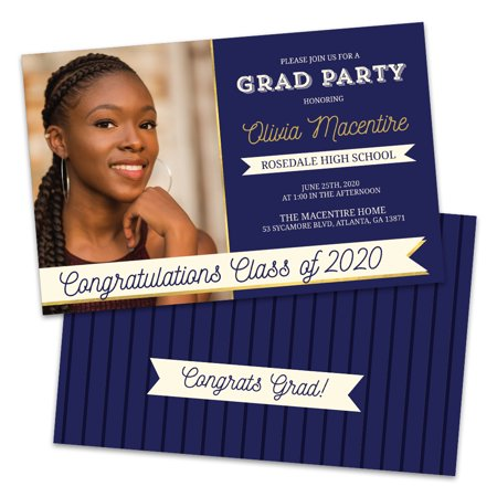 Personalized Navy Blue And Gold Photo Graduation Party Invitation