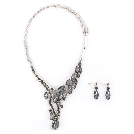 Ladies Metal Pendant Bib Collar Charming Necklace Earrings Black Set - image 4 of 4