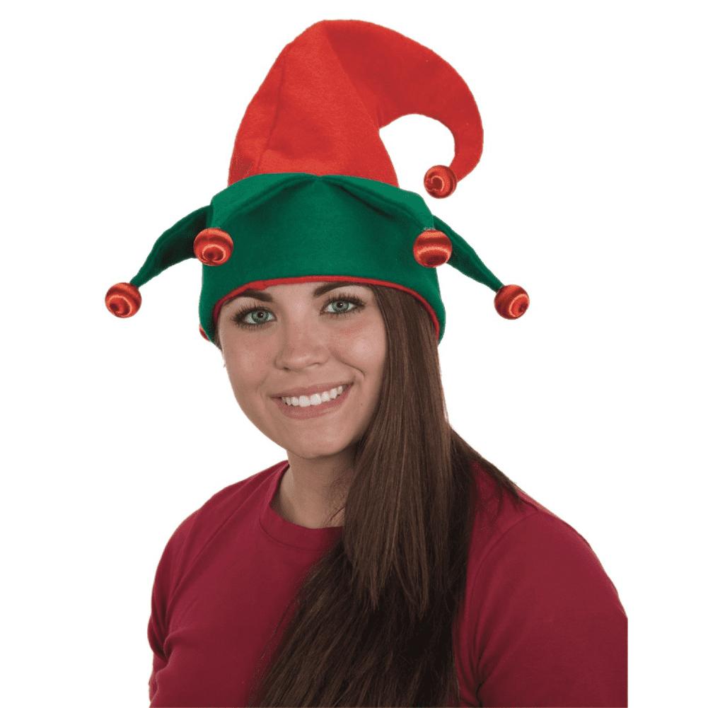 Christmas Santas Helper Elf Red Green Jester Hat Bells Holiday Costume Accessory