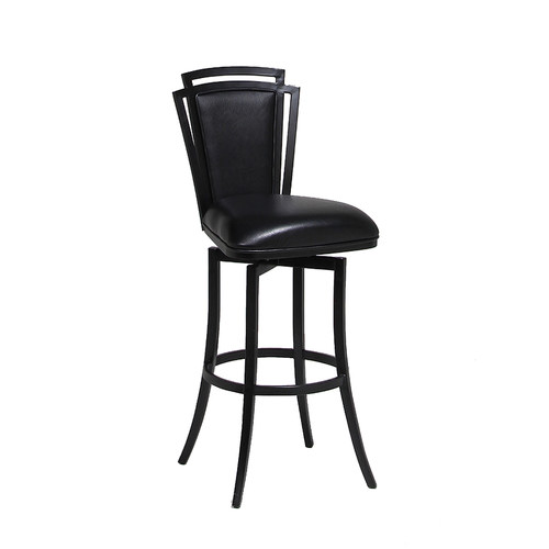 "Pastel Furniture Citrus Grove 27.25"" Swivel Bar Stool in Ford Black-26"" Counter Height by Impacterra"
