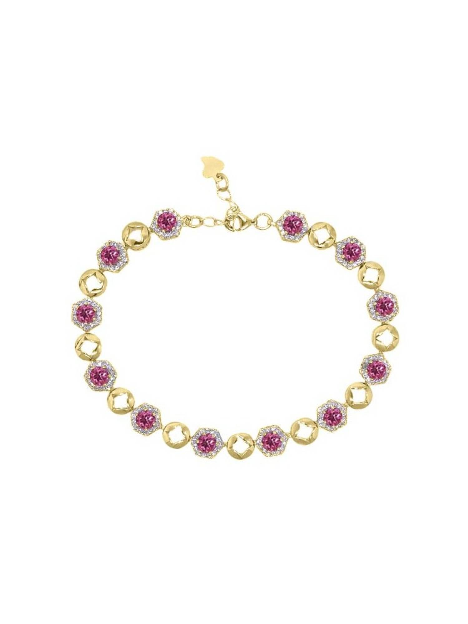 5.69 Ct Round Pink Tourmaline 18K Yellow Gold Plated Silver Bracelet by