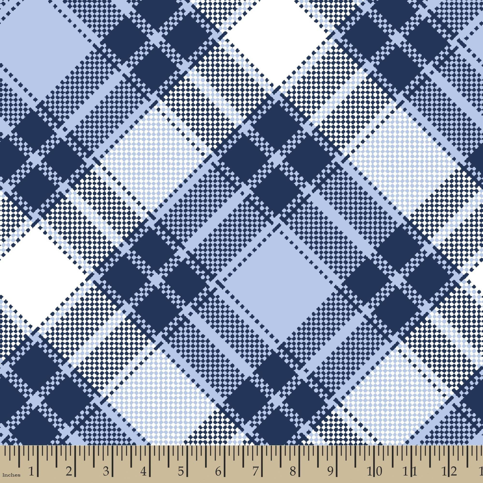"Annie Plaid, Blue, Blizzard Fleece, 59/60""W, Fabric by the Yard"