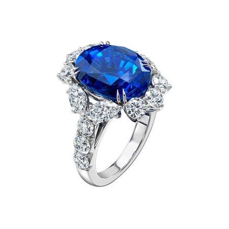 ON SALE - Coralie En Bleu 4CT Oval Floral Halo IOBI Simulated Diamond Ring 8