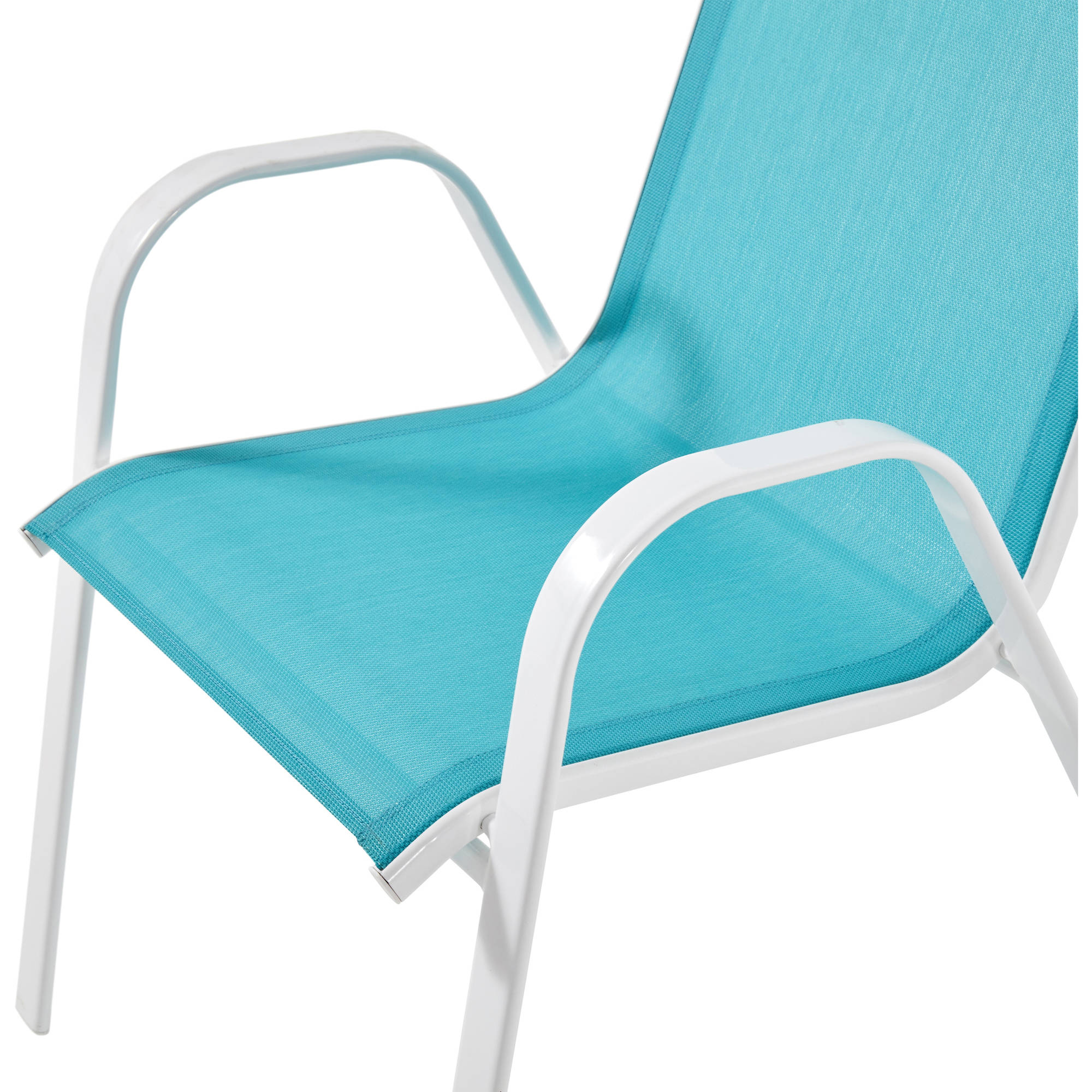 Mainstays Heritage Park Stacking Sling Chair, Turquoise   Walmart.com