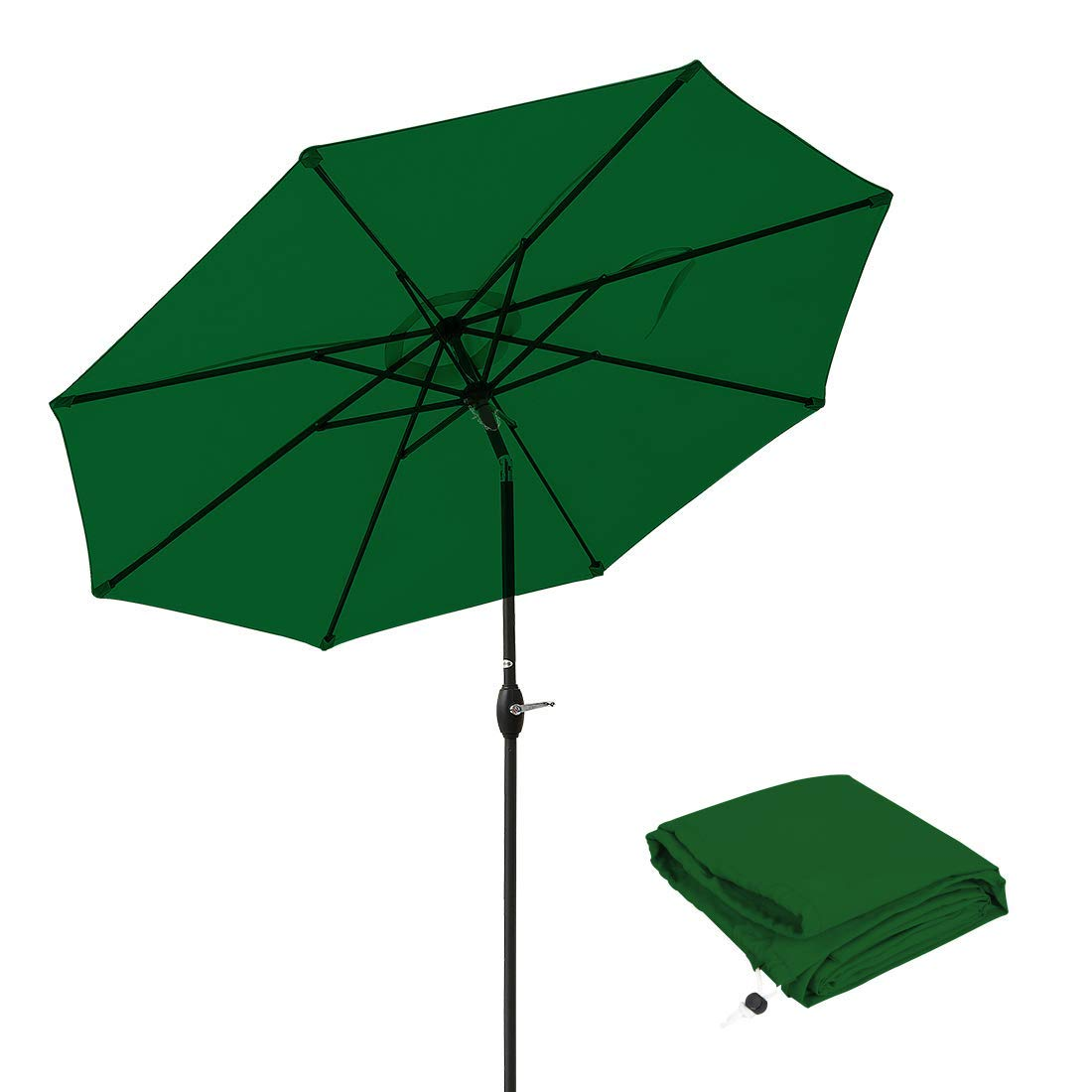 Patio Umbrella 9 Ft Aluminum Outdoor Table Market Umbrellas With Push Button Tilt and Crank, Safety Bolt,8 Ribs (Apple Green)