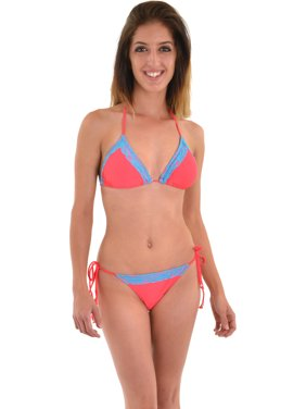 f780a91304242 Free shipping. Product Image Plunge Junior's Pink Halter String Bikini Blue  Trim 2 Piece Bathing Suit Set