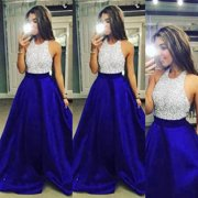 Mosunx Women Formal Prom Party Ball Gown Evening Bridesmaid Halter Long Dresses L