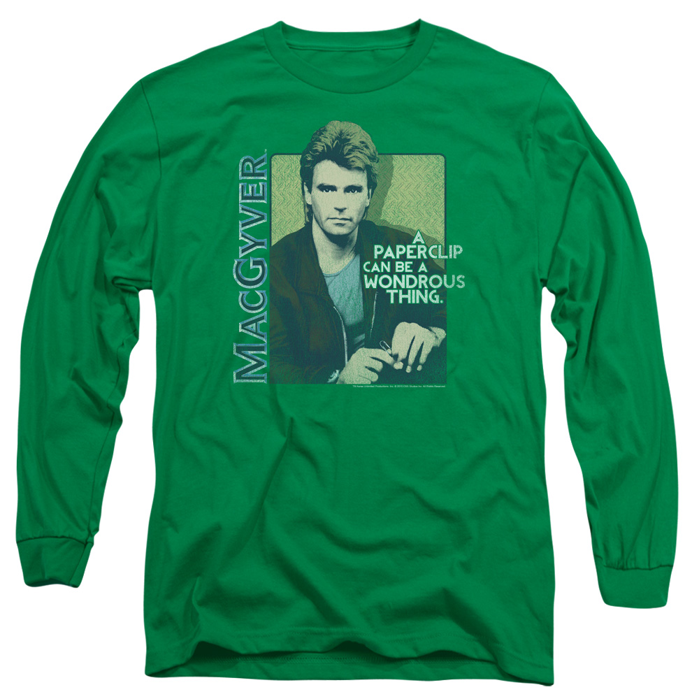 MACGYVER/WONDEROUS PAPERCLIP-L/S ADULT 18/1-KELLY GREEN-MD