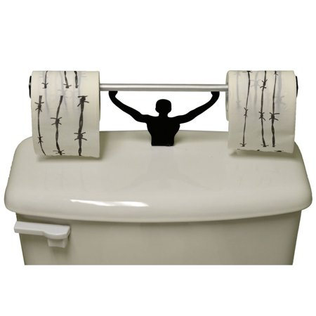Toilet Novelties (Barbed Wire Toilet Paper W/ Strong Man Holder Novelty Gift)