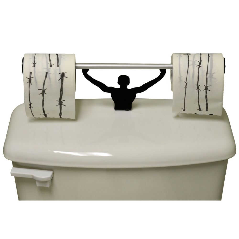 Barbed Wire Toilet Paper W/ Strong Man Holder Novelty Gift Set