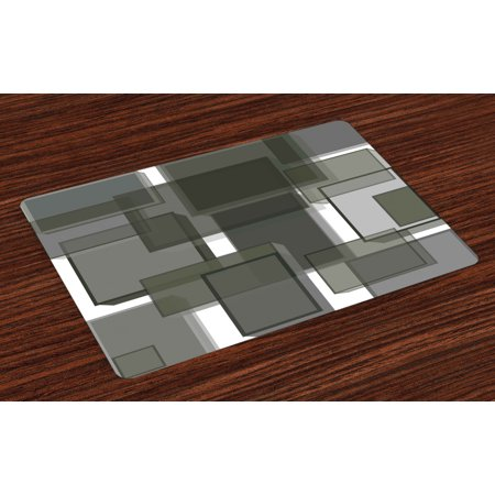 Taupe Placemats Set of 4 Three Dimensional Cubes Geometric Modern Abstraction Square Shapes Print, Washable Fabric Place Mats for Dining Room Kitchen Table Decor,Taupe Pale Grey Green, by Ambesonne