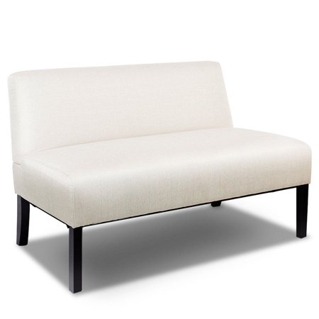 Costway Armless Loveseat Sofa Fabric Settee Bench Bed Chair Wooden Leg Living Room ()