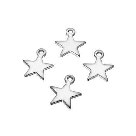 20 Wholesale Stainless Steel Silver Star Charms Pendants Jewelry Findings 10x9mm