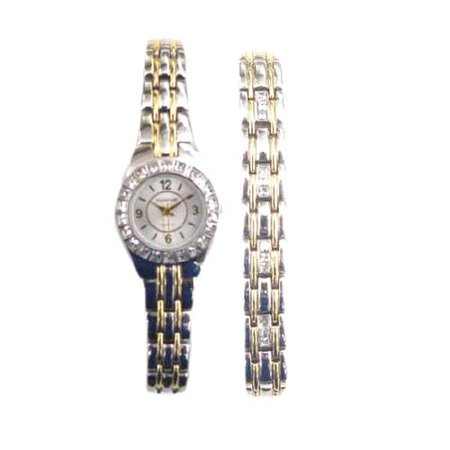 Elgin Women S Two Tone Dress Watch And Bracelet Set