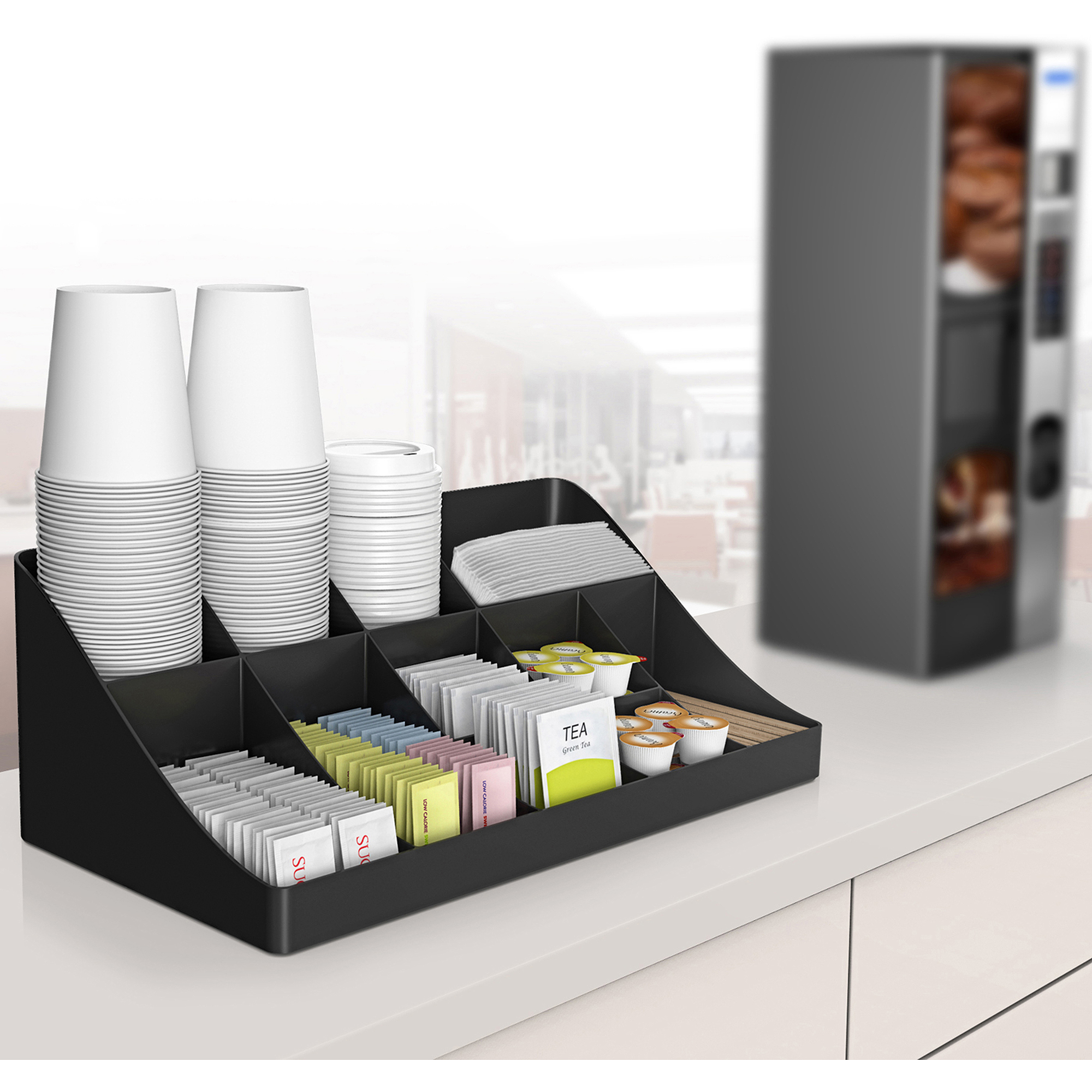 Condiment Organizer 13-Compartment Breakroom, Black