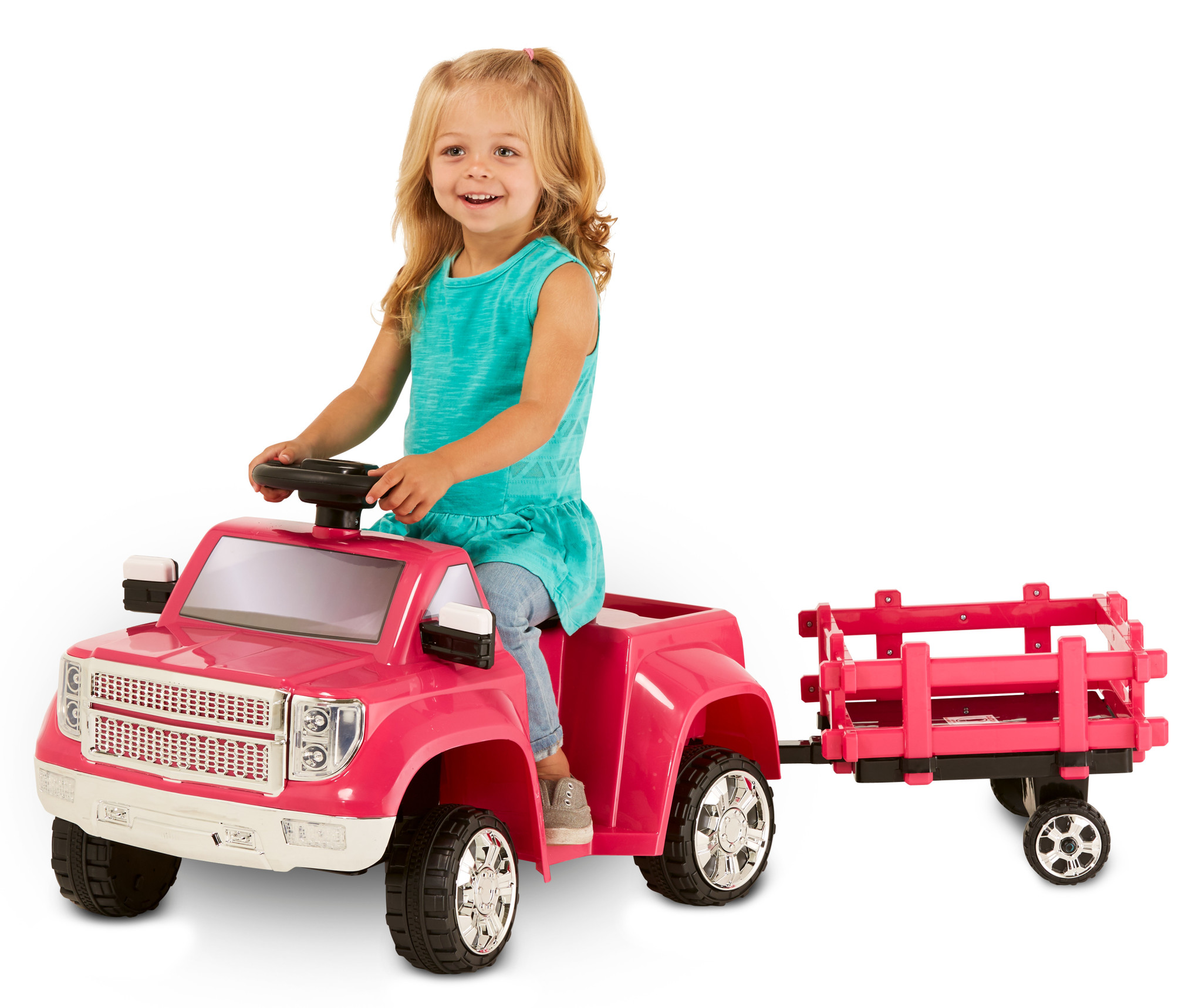 Kid Trax 6V Heavy Hauling Truck with Trailer Powered Ride On, Pink by Pacific Cycle