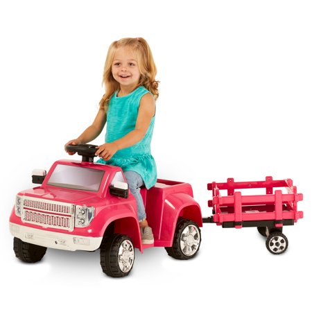 Kid Trax 6V Heavy Hauling Truck with Trailer Powered Ride On, Pink ()