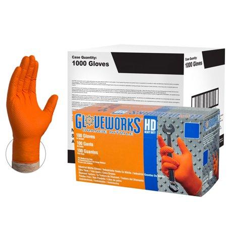 Gloveworks Heavy Duty Nitrile Latex-Free Industrial Gloves, Large, Orange, 1000/Case