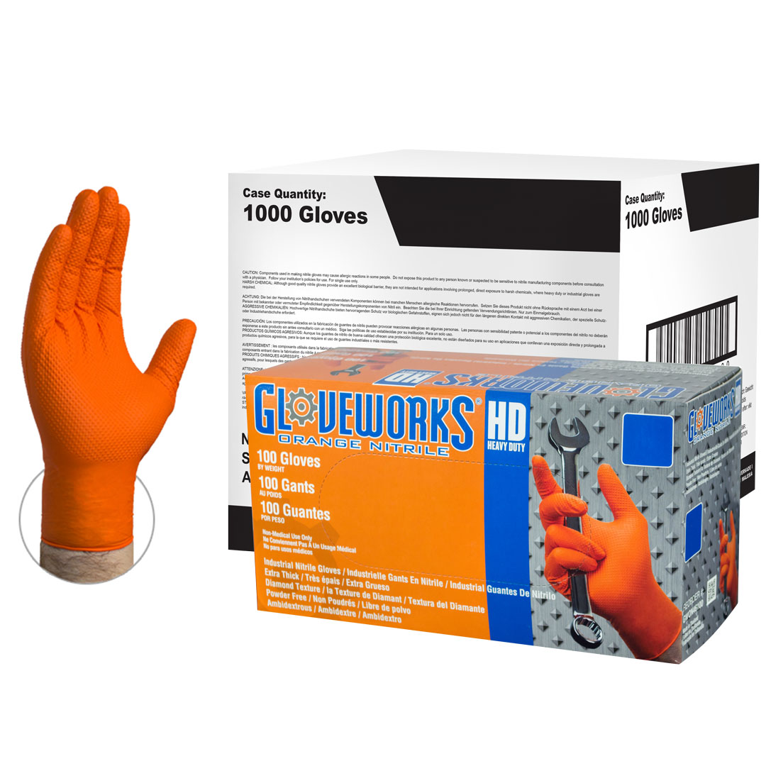Ammex GWON48100 Gloveworks Orange Nitrile Glove, Latex Free, Disposable, Powder Free