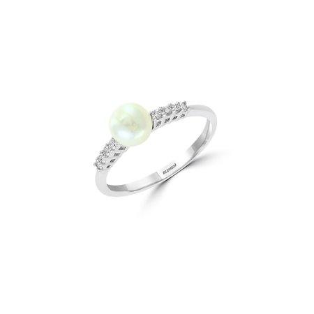 14K White Gold, 6mm White Pearl & Diamond Solitaire Ring