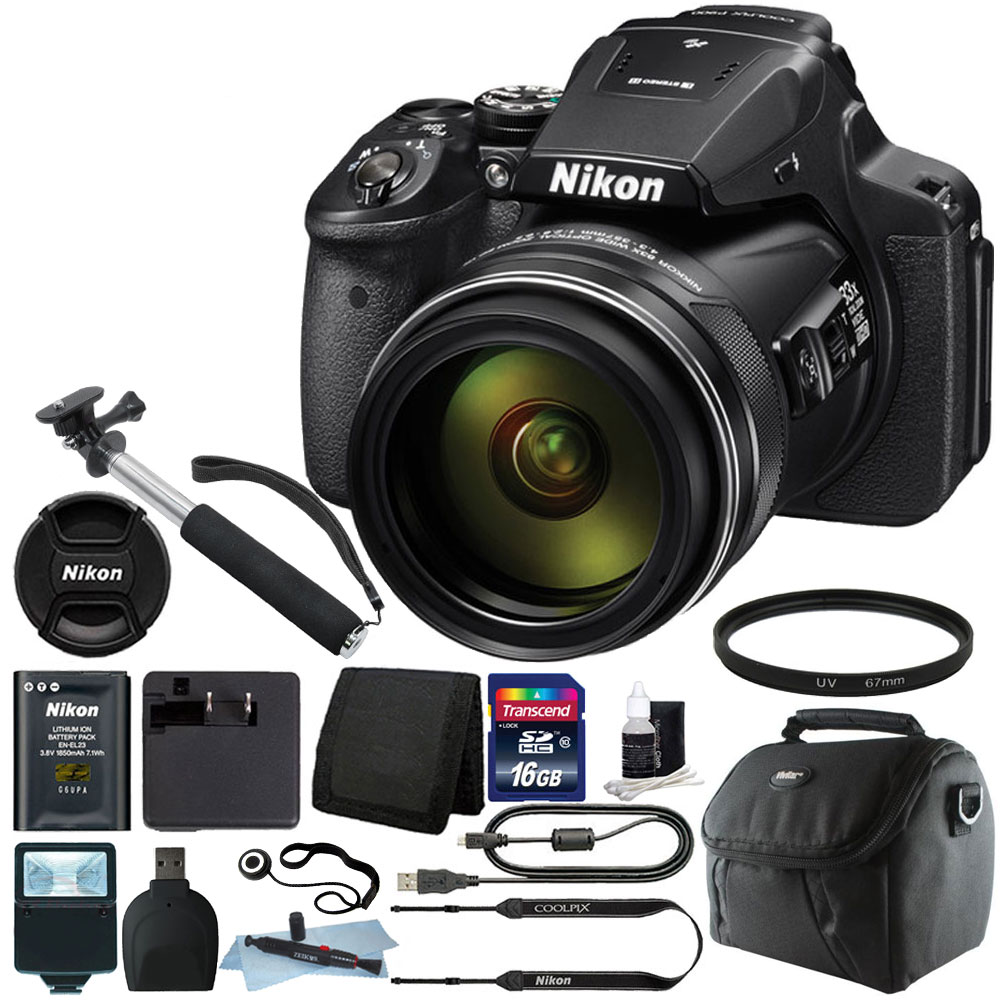 Nikon Coolpix P900 16MP with 83x Optical Zoom Digital Camera +16GB Accessory Kit