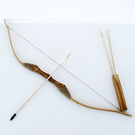 WOODEN BOW AND ARROW w QUIVER set 3 PACK ARROWS wood youth archery hunting