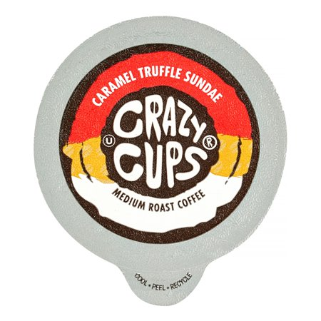 - Crazy Cups Caramel Truffle Sundae Flavored Coffee Single Serve Cups, 22 Ct