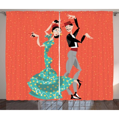 Historical Couple (Spanish Curtains 2 Panels Set, Ethnic Flamenco Dancers Couple Performing in Historical Folk Dress Latino Tradition, Window Drapes for Living Room Bedroom, 108W X 90L Inches, Multicolor, by)